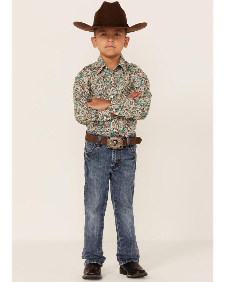 Rock & Roll Denim Boys' Teal Paisley Print Long Sleeve Snap Western Shirt , Multi, hi-res