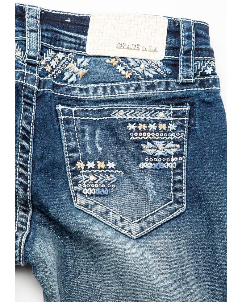 Grace in LA Girls' Arrow Pocket Bootcut Jeans, Blue, hi-res