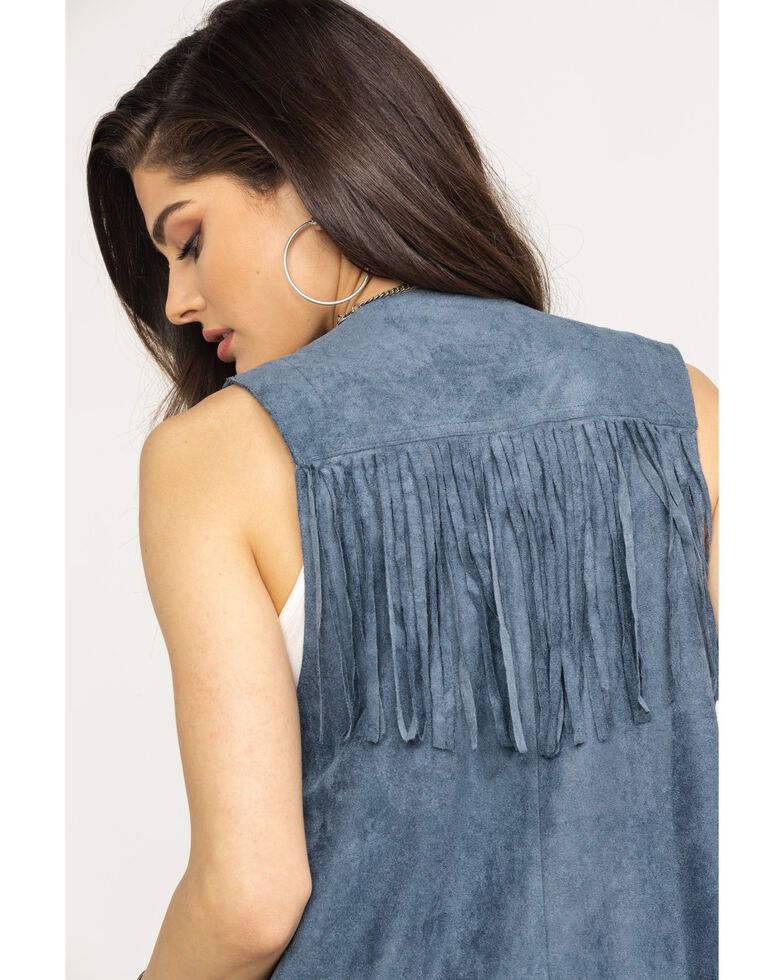Vocal Women's Metal Ring Fringe Vest, Blue, hi-res