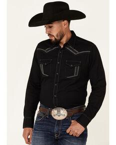 Rock 47 By Wrangler Men's Black Embroidered Long Sleeve Snap Western Shirt , Black, hi-res