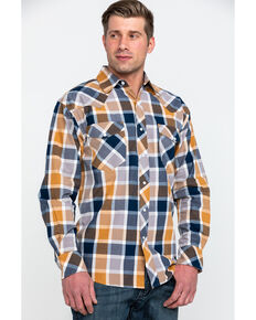 Resistol Men's Lake Clark Ombre Plaid Long Sleeve Western Shirt , Multi, hi-res
