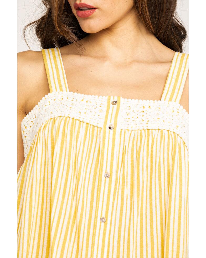 Eyeshadow Women's Stripe Button Down Crochet Trim Tank Top , Dark Yellow, hi-res