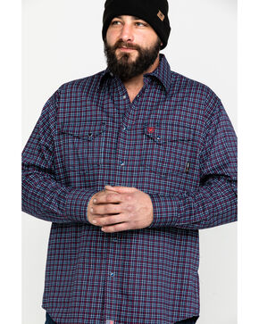 Ariat Men's Navy Dunbar Geometric Print Long Sleeve Shirt - Tall , Navy, hi-res