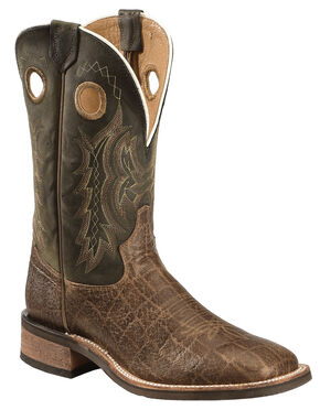 Tony Lama Men's Americana Elephant Grain Print Cowboy Boots - Square Toe , Tan, hi-res