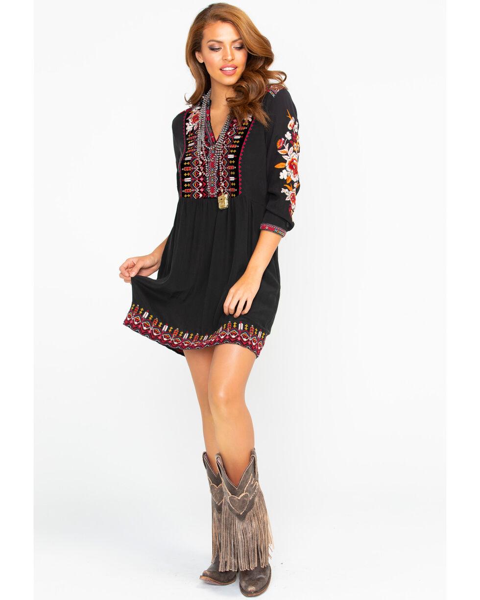 Johnny Was Women's Henley Boho Dress, Black, hi-res
