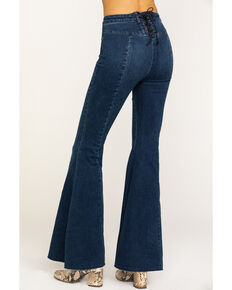 Free People Women's Ma Cherie Super High Rise Flare Jeans, Blue, hi-res