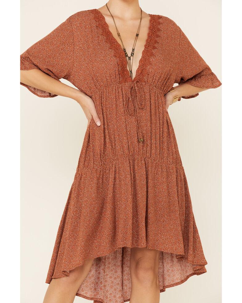 Lunachix Women's Floral Crochet Dress, Rust Copper, hi-res