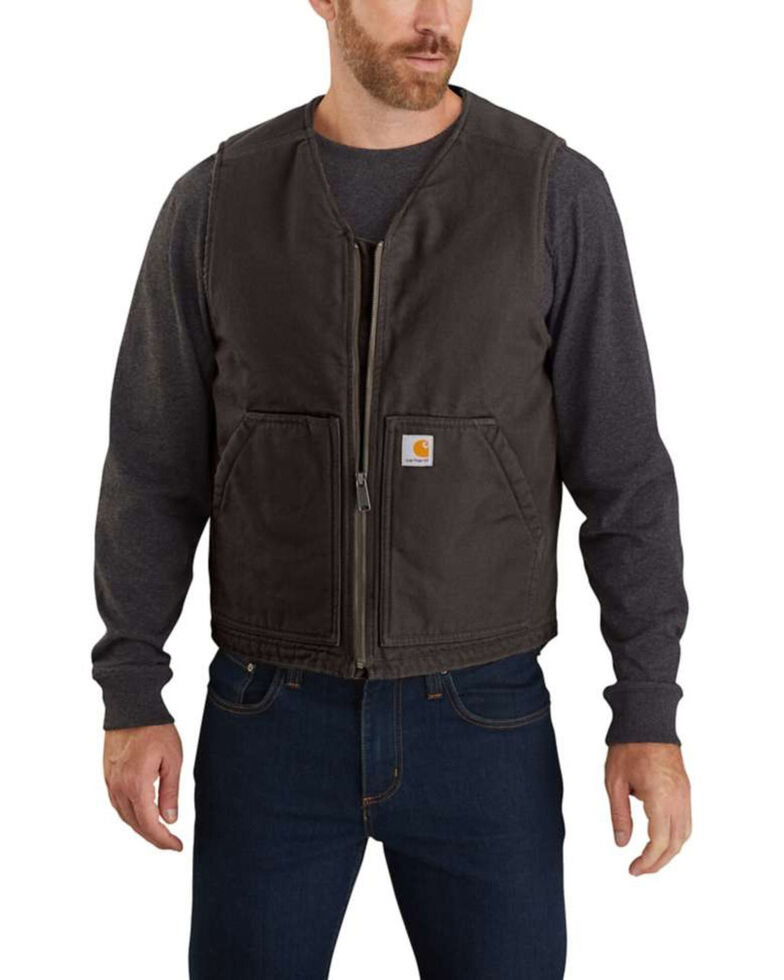 Carhartt Men's Dark Brown Washed Duck Sherpa Lined Vest - Tall, , hi-res