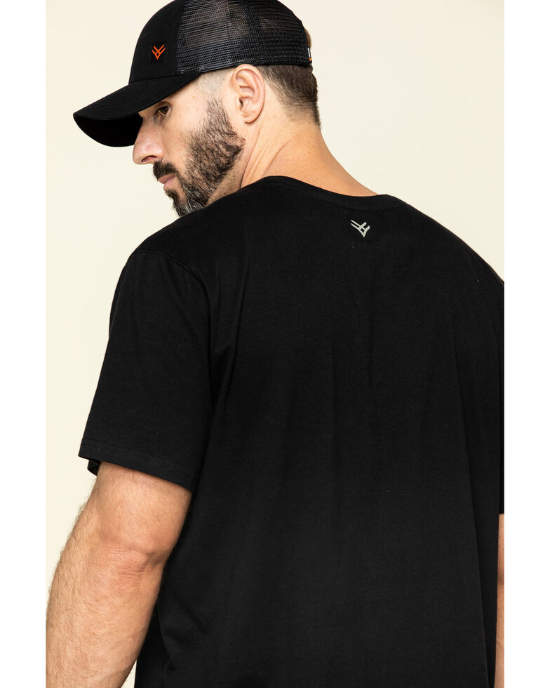 Hawx Men's Black Pocket Crew Short Sleeve Work T-Shirt - Tall , Black, hi-res