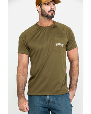 Carhartt Men's Olive Force Birdseye Graphic Short Sleeve Work T-Shirt, Olive, hi-res
