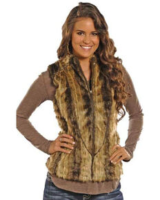 Powder River Outfitters Women's Brown Ember Fur Vest , Brown, hi-res
