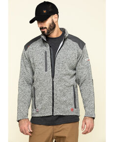 Ariat Men's FR Charcoal Caldwell Zip-Up Work Sweater Jacket - Tall , Charcoal, hi-res