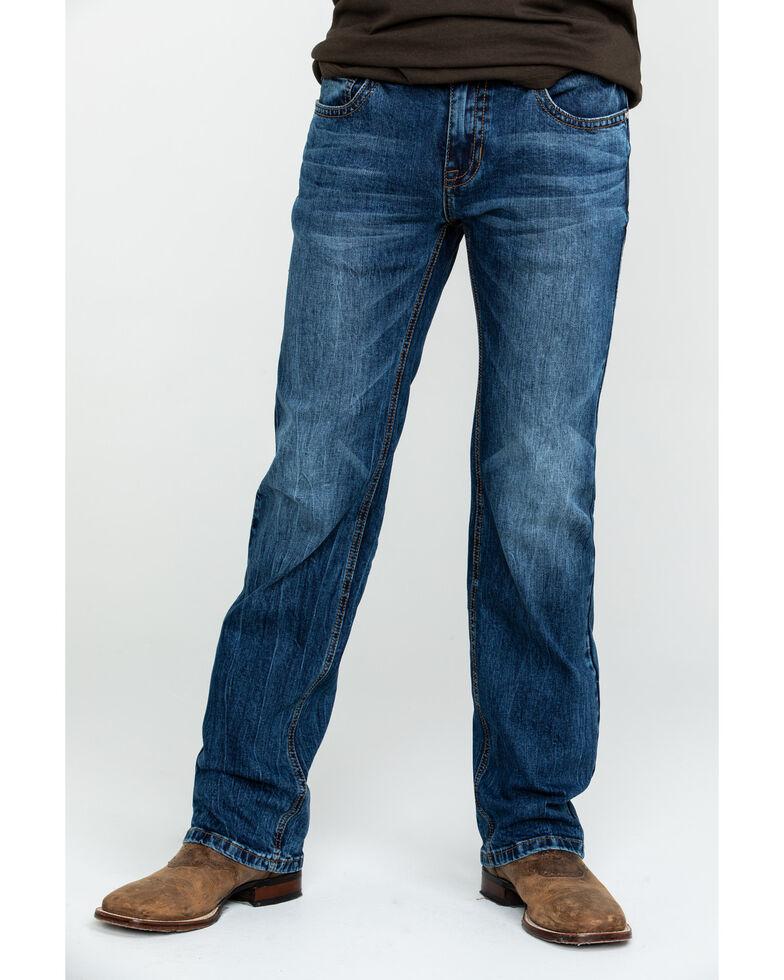 Rock & Roll Cowboy Men's Dark Pistol Reflex Stretch Straight Jeans , Blue, hi-res