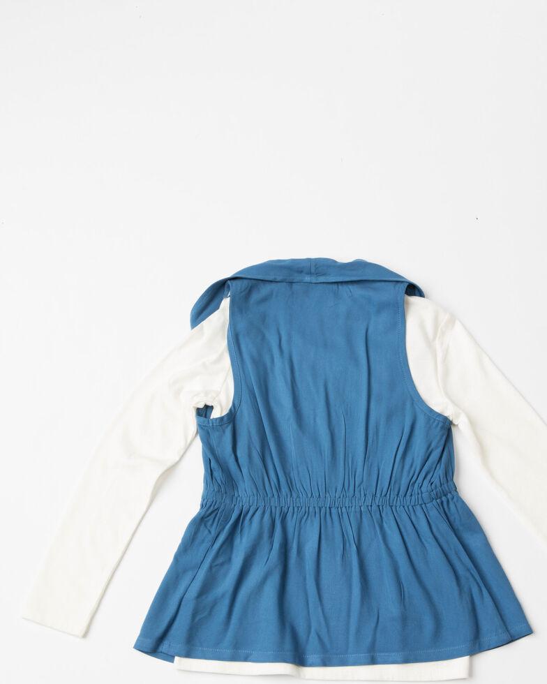 Shyanne Girls' Denim Vest Long Sleeve Shirt and Leggings Set , Multi, hi-res