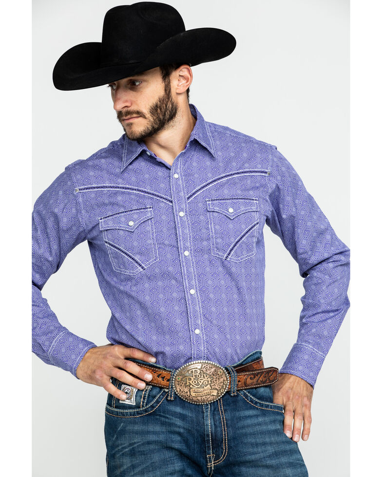 Rock 47 By Wrangler Purple Geo Print Long Sleeve Western Shirt - Tall , Purple, hi-res