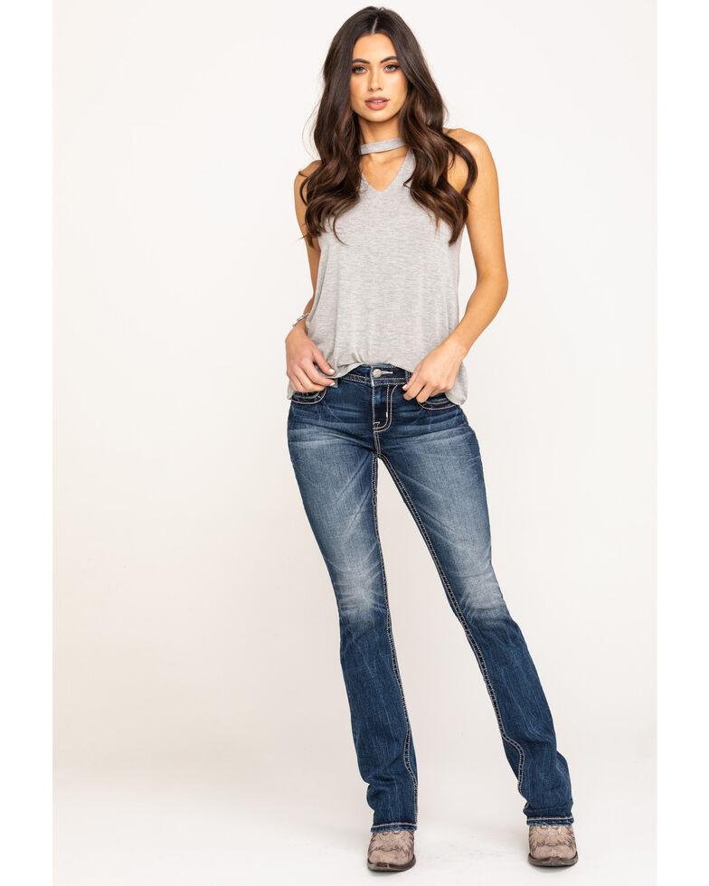 Miss Me Women's Dark Wash Mixed Stitch Slim Bootcut Jeans, Blue, hi-res