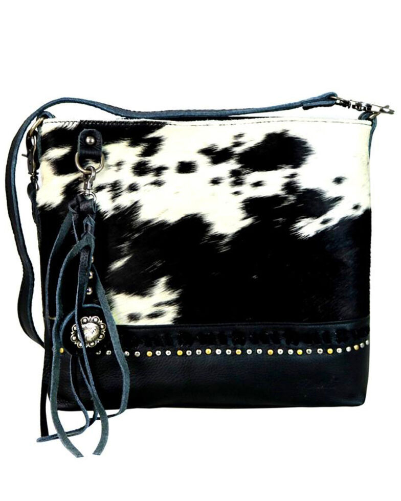 Montana West Women's Delila Black Genuine Leather Hair-On Crossbody Bag, , hi-res