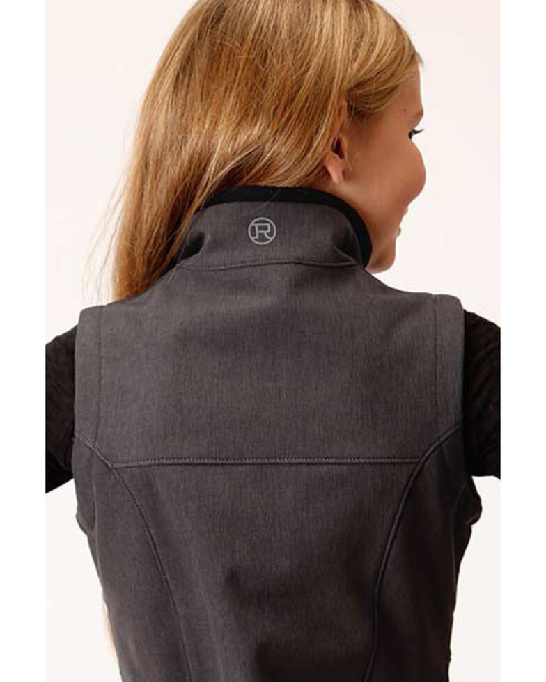Roper Girls' Grey Softshell Fleece Vest, Charcoal, hi-res