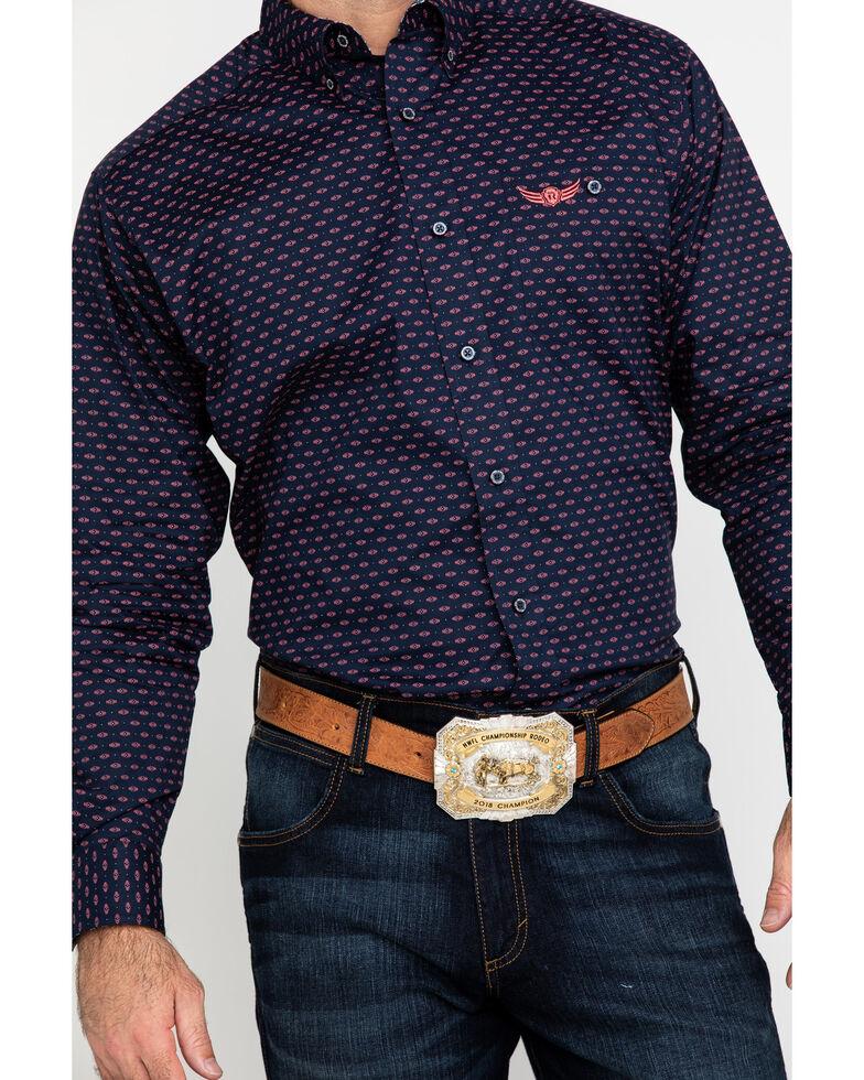Ariat Men's Relentless Muscular Stretch Geo Print Long Sleeve Western Shirt , Navy, hi-res
