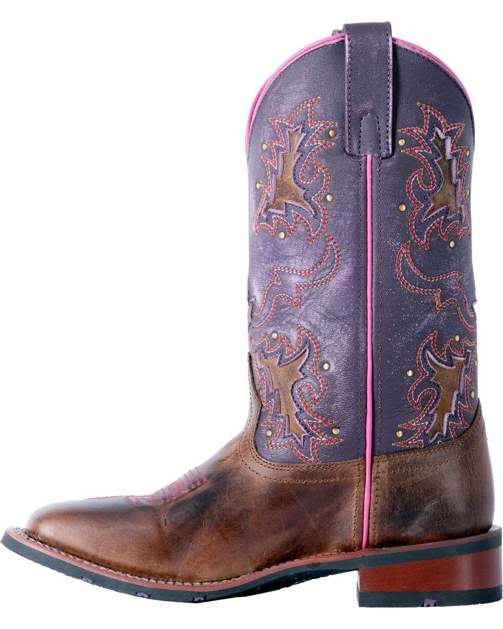 Laredo Women's Lola Purple Tan Inlay Cowgirl Boots - Square Toe, Tan, hi-res