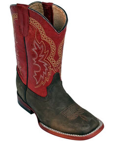 Ferrini Boys' Chocolate Cowhide Western Boots - Square Toe, Chocolate, hi-res