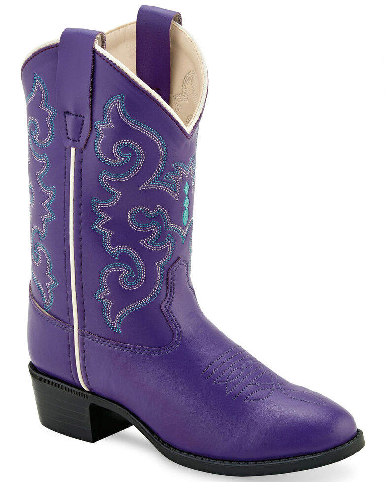 Old West Girls' Purple Western Boots - Round Toe, , hi-res