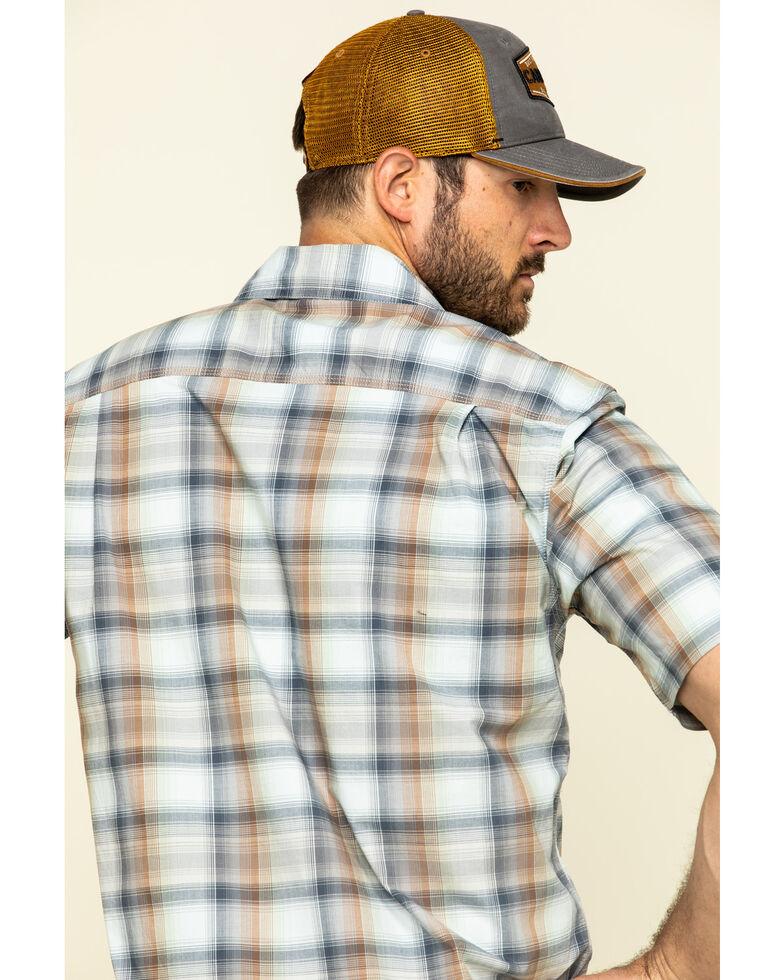 Carhartt Men's Soft Blue Rugged Flex Bozeman Plaid Short Sleeve Work Shirt - Big , Blue, hi-res