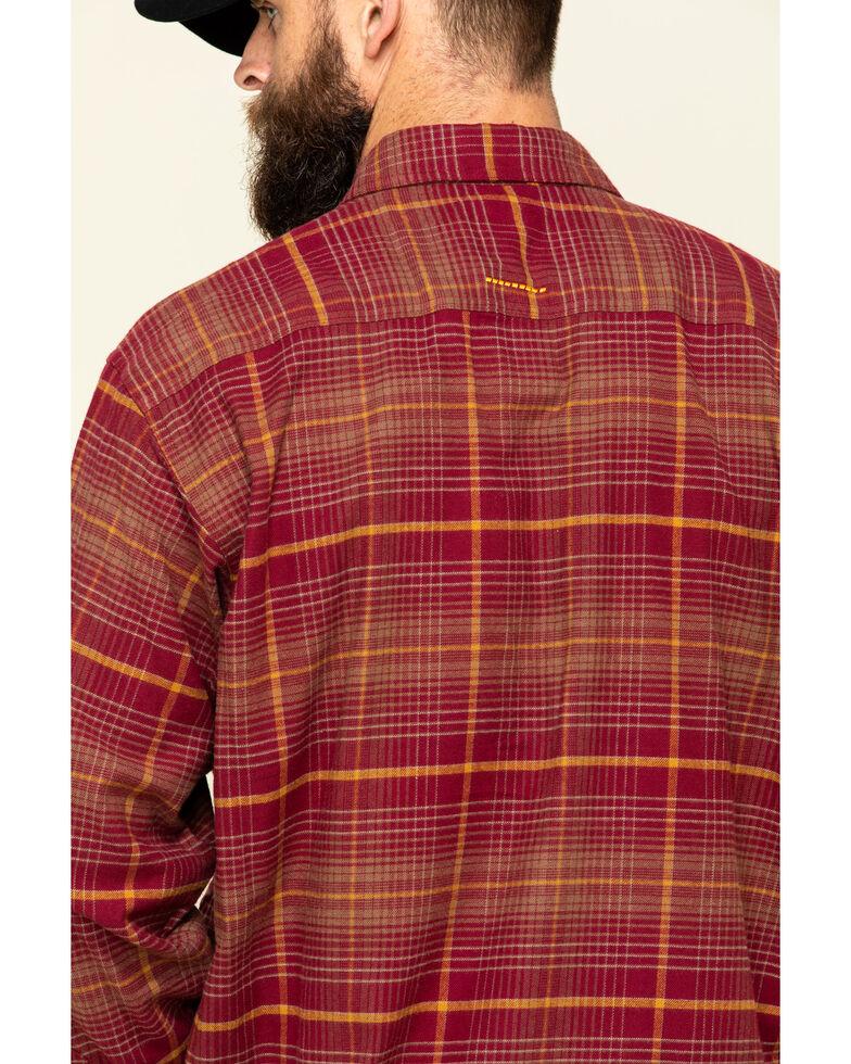 Ariat Men's Cabernet Rebar Flannel Durastretch Plaid Long Sleeve Work Shirt - Big , Wine, hi-res