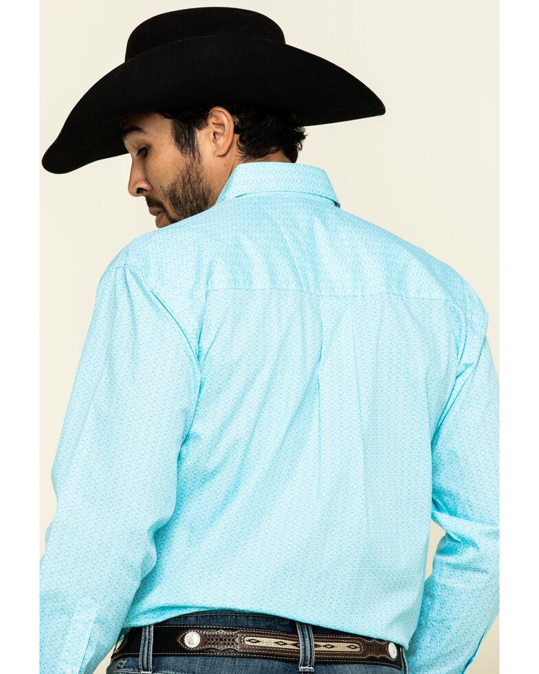 George Strait by Wrangler Men's Light Turquoise Geo Print Long Sleeve Western Shirt - Big , Turquoise, hi-res