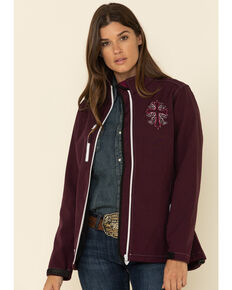 Cowgirl Hardware Women's Burgundy Vine Cross Softshell Jacket, Burgundy, hi-res