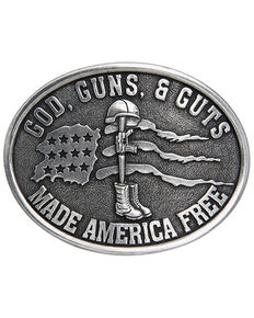 Cody James Men's God, Guns, & Guts Made America Free Buckle, Silver, hi-res