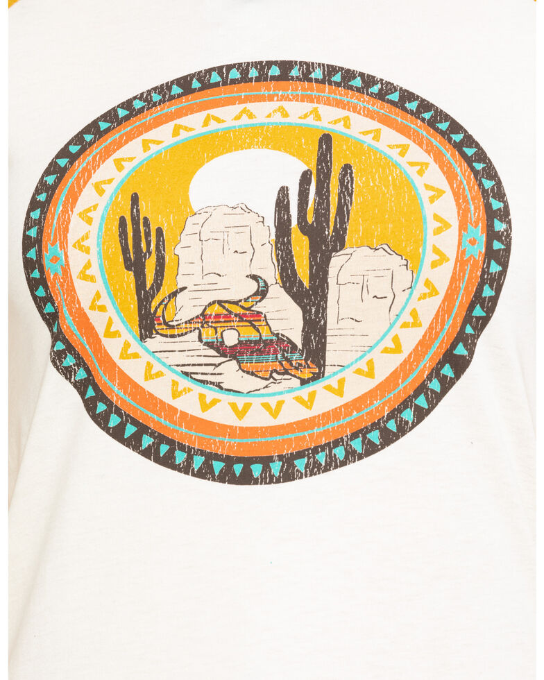 Rock & Roll Cowgirl Women's Cactus Graphic Baseball Tee, Natural, hi-res
