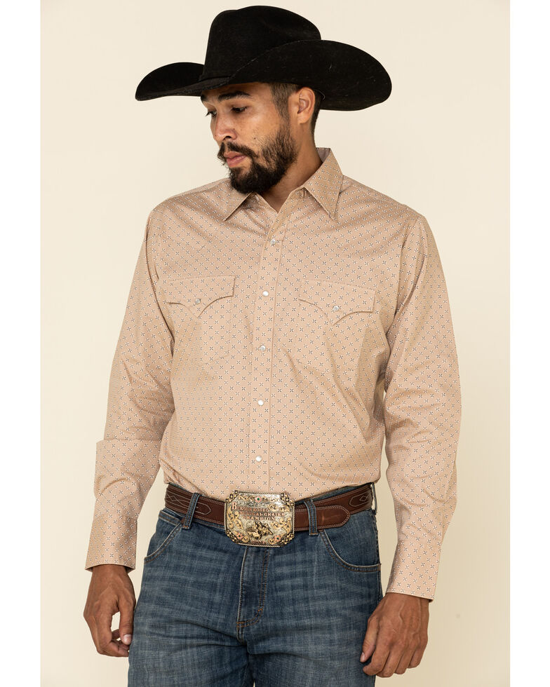 Ely Walker Men's Khaki Small Geo Print Long Sleeve Western Shirt , Beige/khaki, hi-res