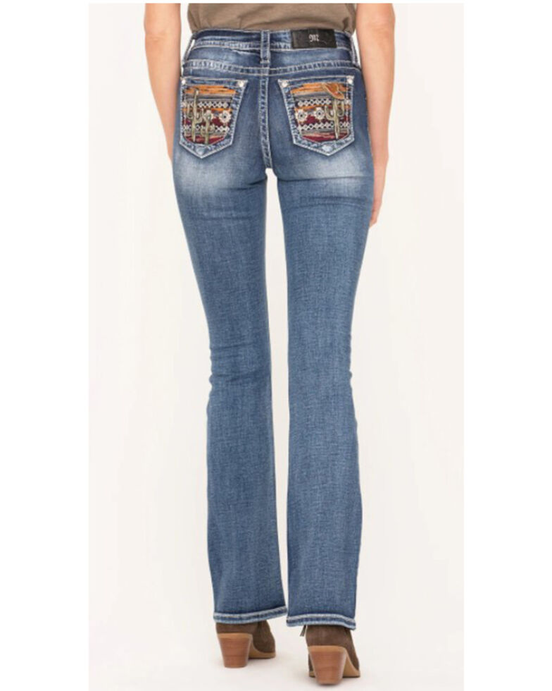 Miss Me Women's Hazy Cactus by The Desert Embroidered Chloe Bootcut Jeans , Blue, hi-res