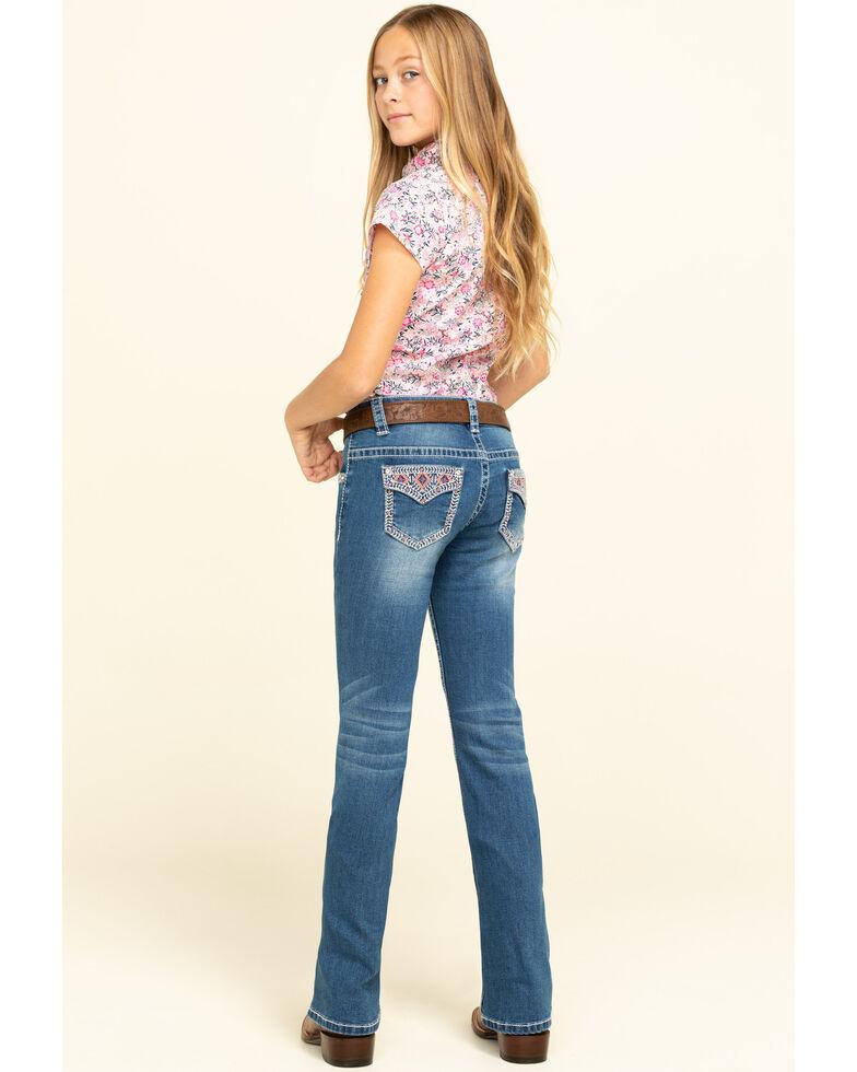 Shyanne Big Girls' Medium Bling Aztec Faux Flap Bootcut Jeans, Blue, hi-res