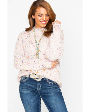 Sadie & Sage Women's Confetti Point Sweater , Pink, hi-res