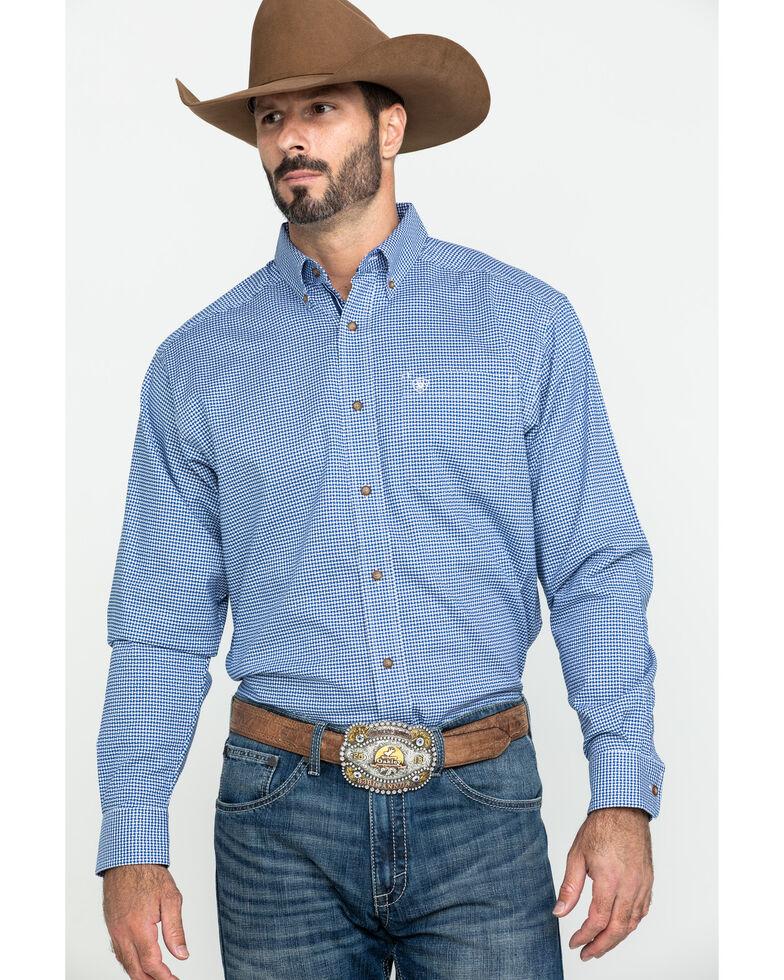 Ariat Men's Gonzales Stretch Check Plaid Long Sleeve Western Shirt - Big , Blue, hi-res