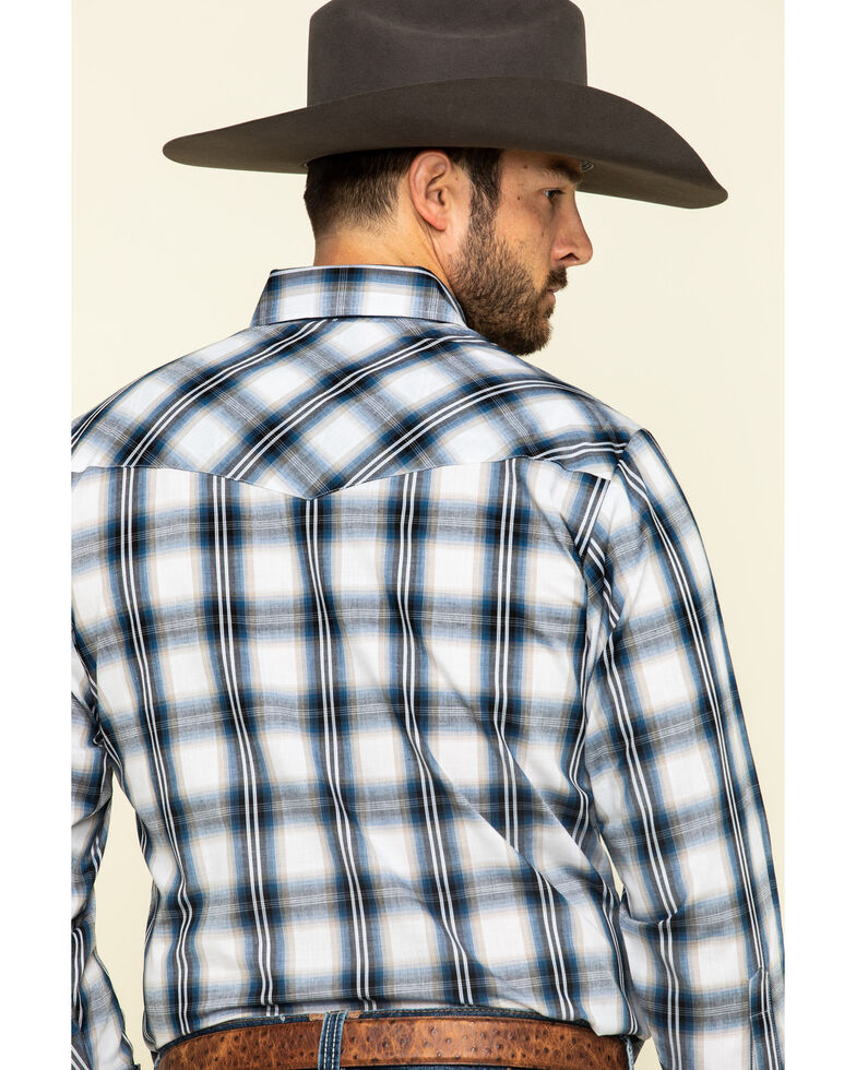 Ely Cattleman Men's Navy Large Plaid Long Sleeve Western Shirt , Navy, hi-res
