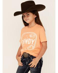 Ali Dee Girls' Peach Howdy Graphic Short Sleeve Tee , Peach, hi-res