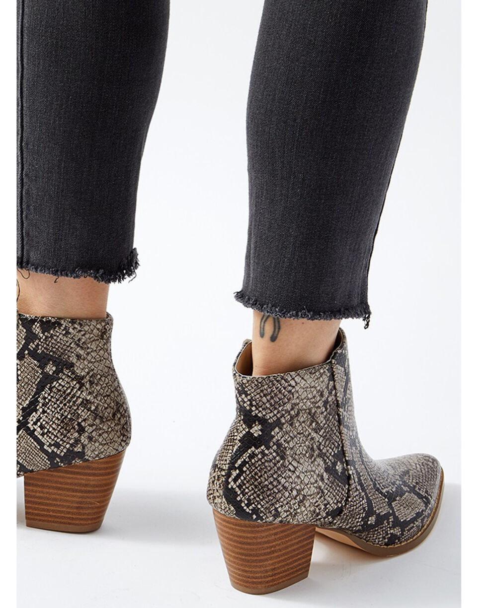 Coconuts by Matisse Women's Astoria Snake Print Fashion Booties - Medium Toe, Taupe, hi-res