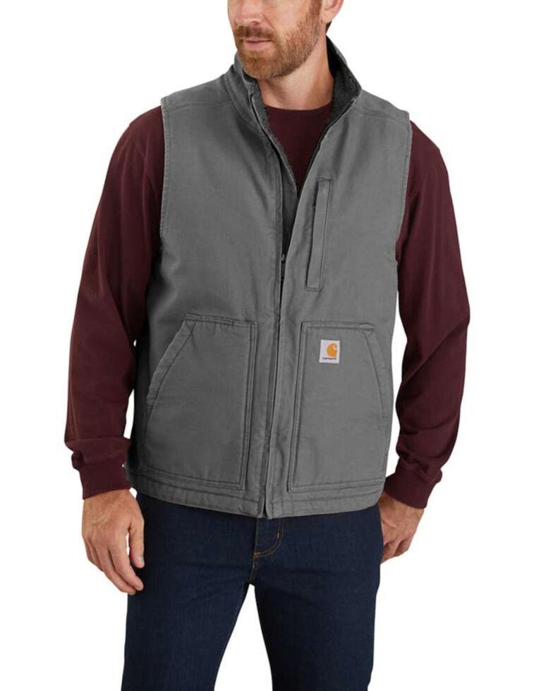 Carhartt Men's Gravel Washed Duck Sherpa Lined Mock Neck Work Vest , Grey, hi-res