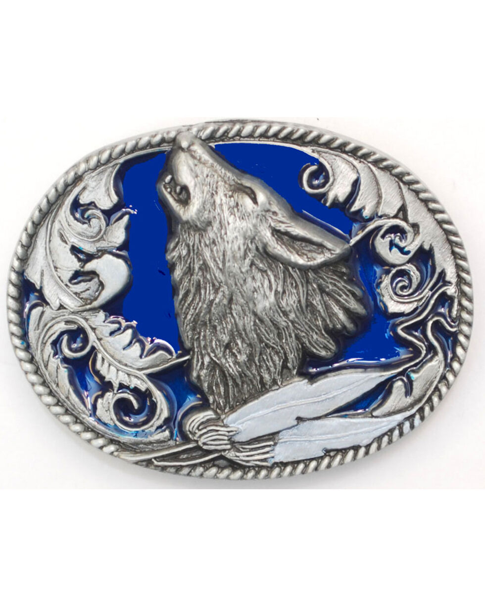 Western Express Men's Silver Howling Wolf Head Belt Buckle , Silver, hi-res