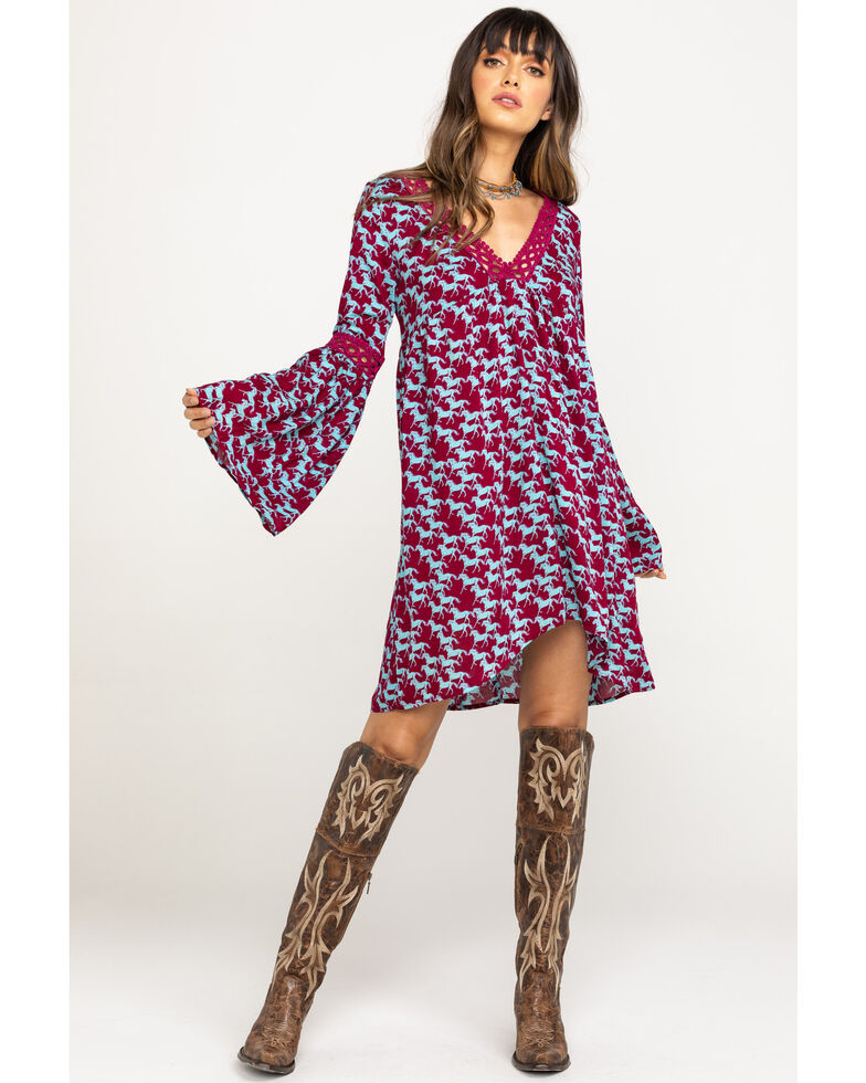 Five Star Women's Stampede Print Bell Sleeve Dress, Multi, hi-res