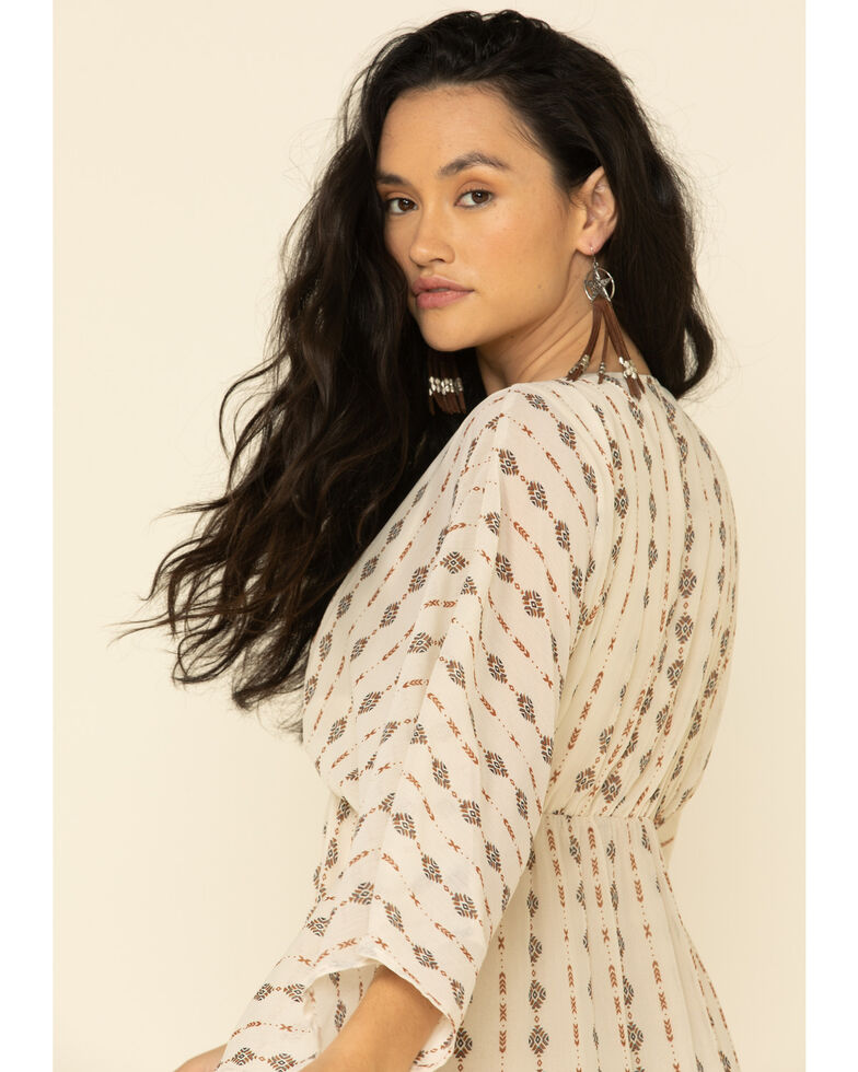 Miss Me Women's Pattern Lace-Up Long Sleeve Dress, Ivory, hi-res