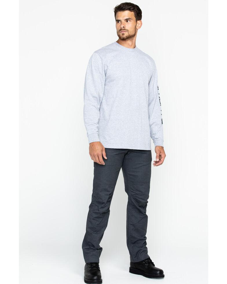 Carhartt Men's Signature Logo Sleeve Knit Work T-Shirt - Big & Tall, Hthr Grey, hi-res