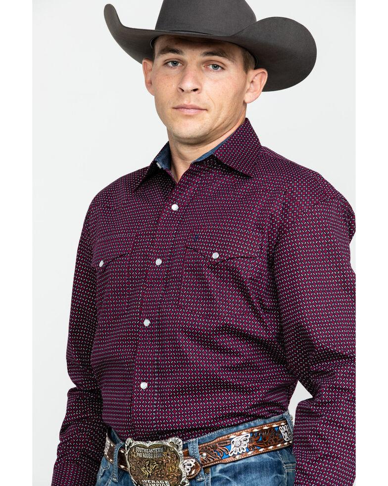 Stetson Men's Wine Geo Print Snap Long Sleeve Western Shirt , Wine, hi-res