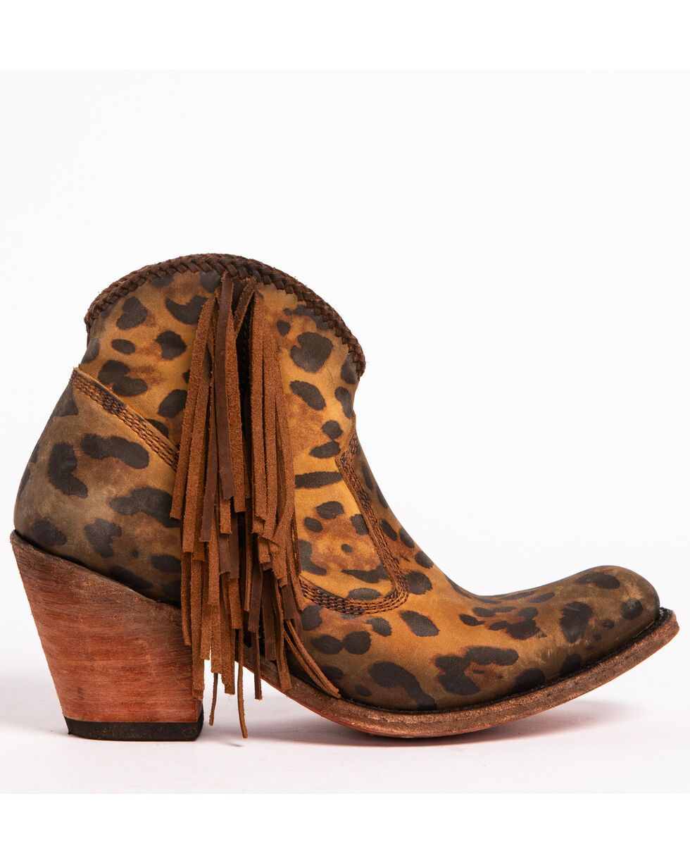 Liberty Black Women's Chita Miel Fringe Booties - Medium Toe, Cheetah, hi-res