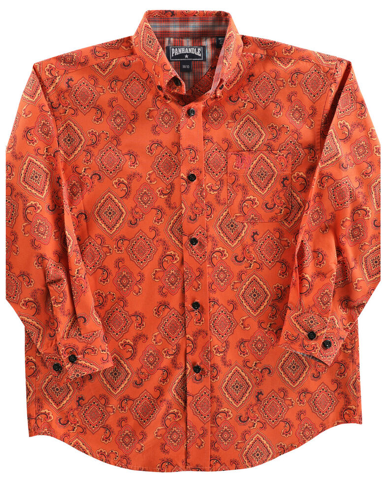 Panhandle Boys' Rust Medallion Print Long Sleeve Western Shirt , Rust Copper, hi-res