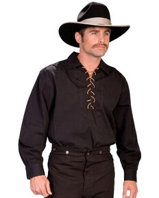 Rangewear by Scully Men's Leather Lace Up Front Long Sleeve Western Shirt, Black, hi-res