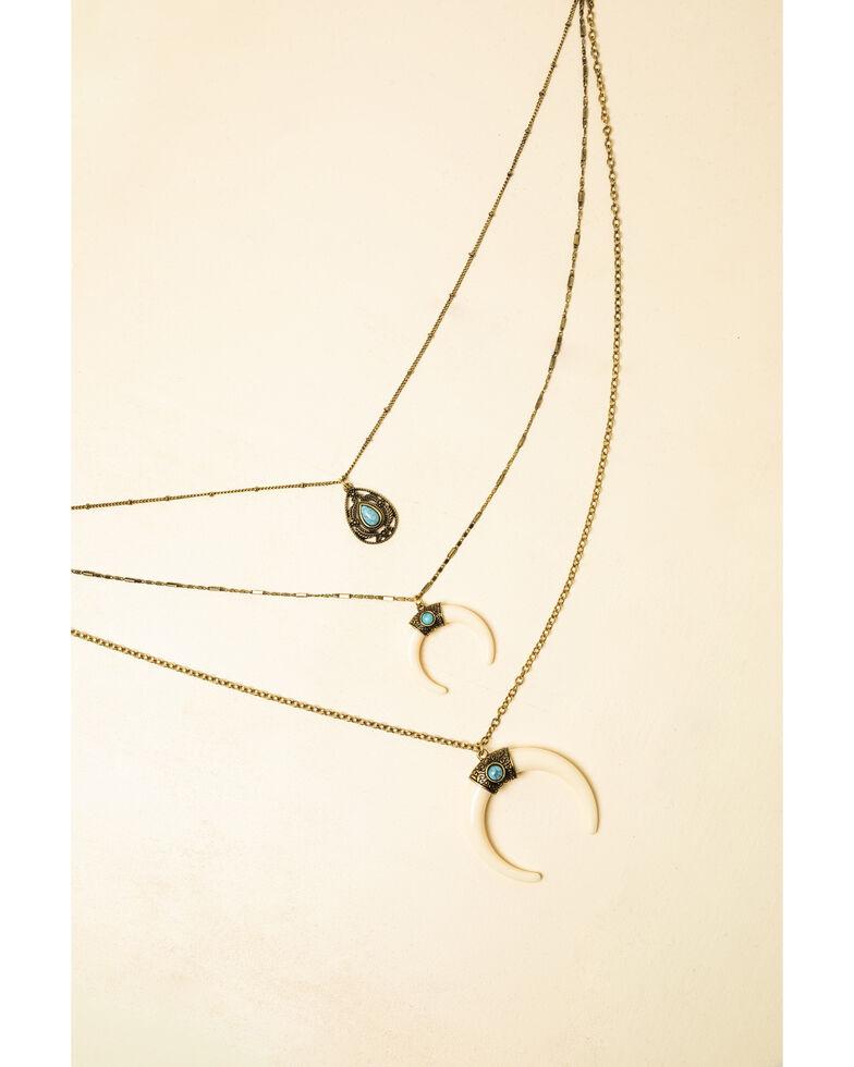 Shyanne Women's White Double Horn Pendant Necklace, Bronze, hi-res